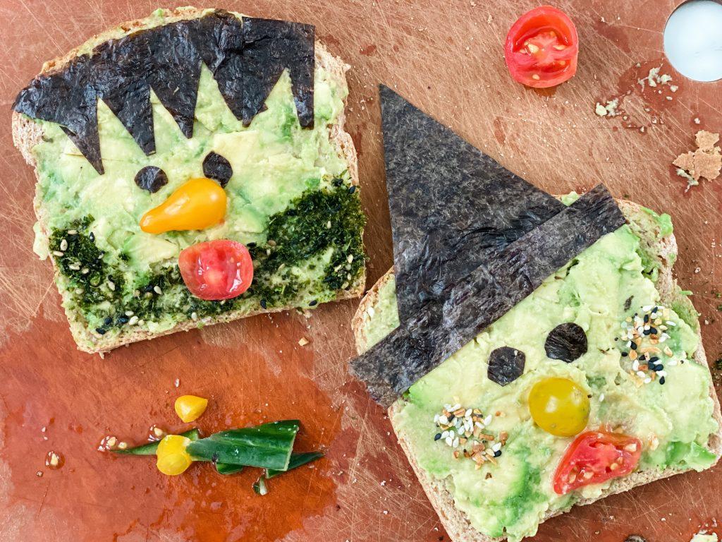 healthy Halloween snacks avocado toast