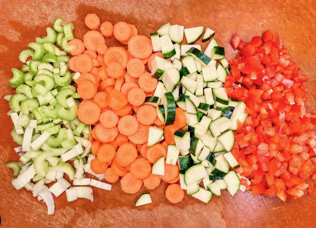 veggies in veggie tofu bolognese sauce